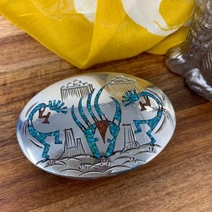 Sterling Silver Turquoise Stone Inlay Belt Buckle